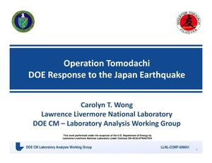 Primary view of object titled 'Operation Tomodachi - DOE Response to the Japan Earthquake'.