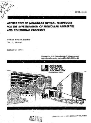 Primary view of object titled 'Application of nonlinear optical techniques for the investigation of molecular properties and collisional processes'.