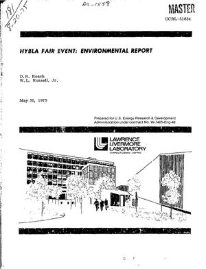 Primary view of object titled 'Hybla Fair event: environmental report'.