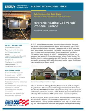 Primary view of object titled 'Hydronic Heating Coil Versus Propane Furnace, Rehoboth Beach, Delaware (Fact Sheet)'.