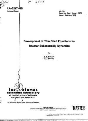 Primary view of object titled 'Development of thin shell equations for reactor subassembly dynamics'.