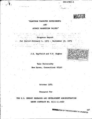 Primary view of object titled 'Electron transfer experiments and atomic magnetism values. Progress report, February 1, 1975--September 30, 1975'.