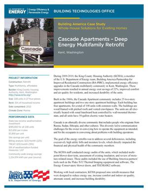 Primary view of object titled 'Cascade Apartments - Deep Energy Multifamily Retrofit , Kent, Washington (Fact Sheet)'.