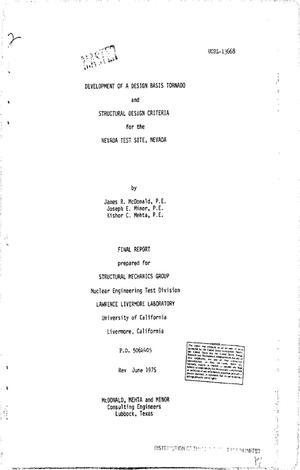 Primary view of object titled 'Development of a design basis tornado and structural design criteria for the Nevada Test Site, Nevada. Final report'.