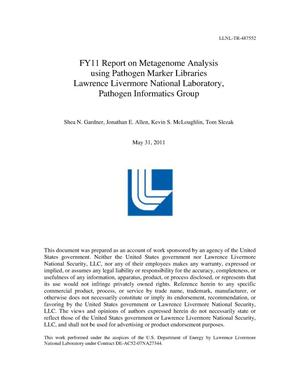Primary view of object titled 'FY11 Report on Metagenome Analysis using Pathogen Marker Libraries'.