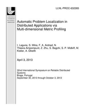 Primary view of object titled 'Automatic Problem Localization in Distributed Applications via Multi-dimensional Metric Profiling'.