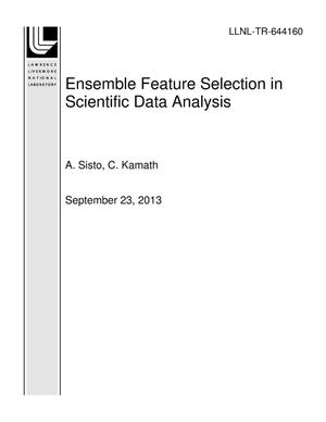 Primary view of object titled 'Ensemble Feature Selection in Scientific Data Analysis'.