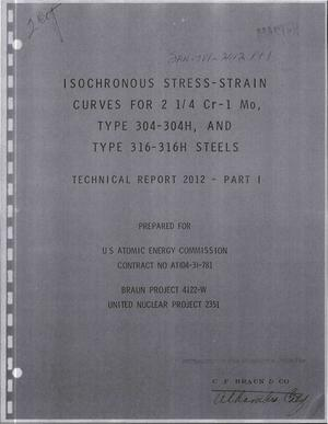 Primary view of object titled 'ISOCHRONOUS STRESS--STRAIN CURVES FOR 2 $sup 1$/$sub 4$ Cr--1 Mo, TYPE 304- 304H, AND TYPE 316-316H STEELS. PART I.'.