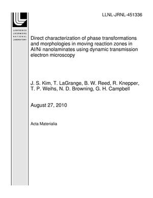 Primary view of object titled 'Direct characterization of phase transformations and morphologies in moving reaction zones in Al/Ni nanolaminates using dynamic transmission electron microscopy'.
