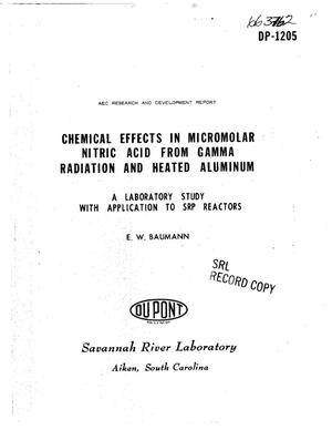Primary view of object titled 'Chemical Effects in Micromolar Nitric Acid From Gamma Radiation and Heated Aluminum. A Laboratory Study With Application to Srp Reactors.'.