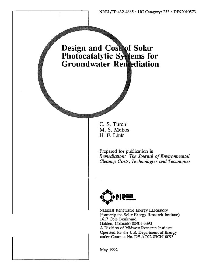 Primary View Of Object Led Design And Cost Solar Photocatalytic Systems For Groundwater Remediation