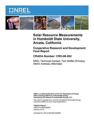 Primary view of object titled 'Solar Resource Measurements in Humboldt State University, Arcata, California: Cooperative Research and Development Final Report, CRADA Number CRD-08-262'.