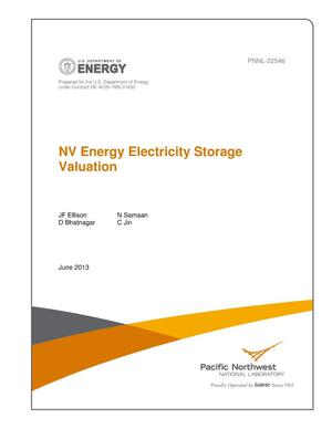 Primary view of object titled 'NV Energy Electricity Storage Valuation'.