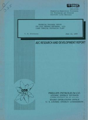 Primary view of object titled 'IDAHO CHEMICAL PROCESSING PLANT TECHNICAL PROGRESS REPORT FOR JULY THROUGH SEPTEMBER 1959'.