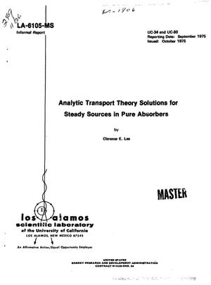Primary view of object titled 'Analytic transport theory solutions for steady sources in pure absorbers'.