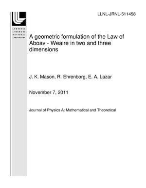 Primary view of object titled 'A geometric formulation of the Law of Aboav - Weaire in two and three dimensions'.