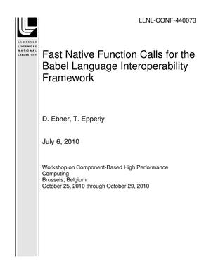 Primary view of object titled 'Fast Native Function Calls for the Babel Language Interoperability Framework'.