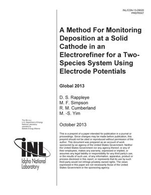 Primary view of object titled 'A Method for Monitoring Deposition at a Solid Cathode in an Electrorefiner for a Two-Species System Using Electrode Potentials'.