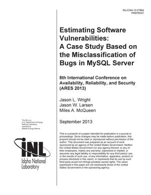 Primary view of object titled 'Estimating Software Vulnerabilities: A Case Study'.