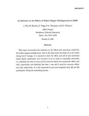 Primary view of object titled 'An Estimate on the Effects of Triplet Magnet Misalignments in RHIC'.