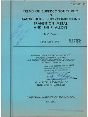 Primary view of object titled 'Trend of superconductivity in amorphous superconducting transition metals and their alloys'.