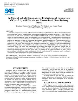 Primary view of object titled 'In-Use and Vehicle Dynamometer Evaluation and Comparison of Class 7 Hybrid Electric and Conventional Diesel Delivery Trucks'.