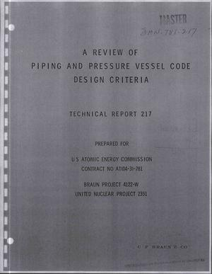 Primary view of object titled 'REVIEW OF PIPING AND PRESSURE VESSEL CODE DESIGN CRITERIA. Technical Report 217.'.