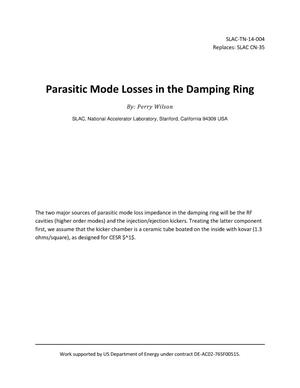 Primary view of object titled 'Parasitic Mode Losses in the Damping Ring'.