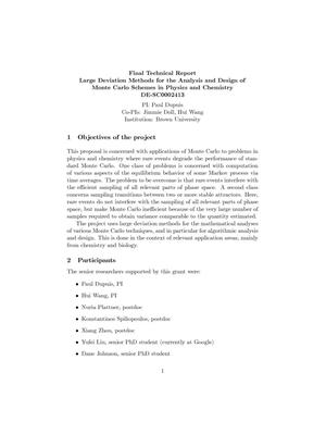 Primary view of object titled 'Final Technical Report - Large Deviation Methods for the Analysis and Design of Monte Carlo Schemes in Physics and Chemistry - DE-SC0002413'.