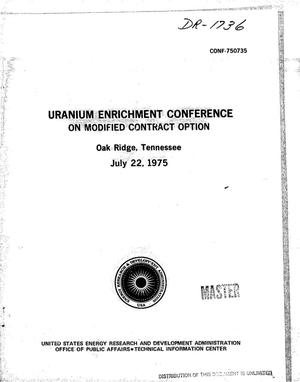 Primary view of object titled 'Uranium enrichment conference on modified contract option, Oak Ridge, Tennessee, July 22, 1975'.