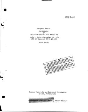 Primary view of object titled 'DEVELOPMENT OF PLUTONIUM-BEARING FUEL MATERIALS. Progress Report, July 1- September 30, 1963'.