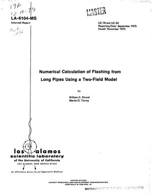 Primary view of object titled 'Numerical calculation of flashing from long pipes using a two-field model'.