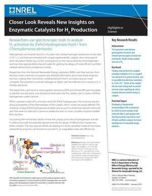 Primary view of object titled 'Closer Look Reveals New Insights on Enzymatic Catalysts for H2 Production (Fact Sheet)'.