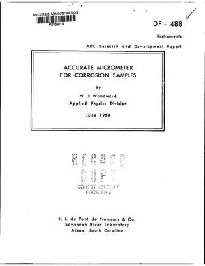 Primary view of object titled 'Accurate Micrometer for Corrosion Samples'.