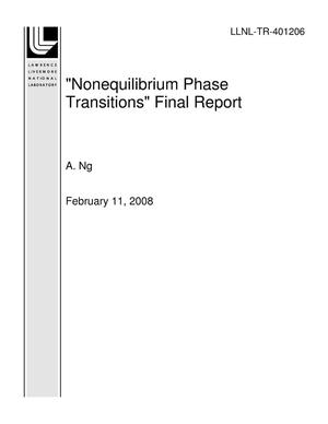 "Primary view of object titled '""Nonequilibrium Phase Transitions"" Final Report'."
