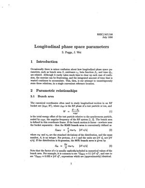 Primary view of object titled 'Longitudinal Phase Space Parameters'.