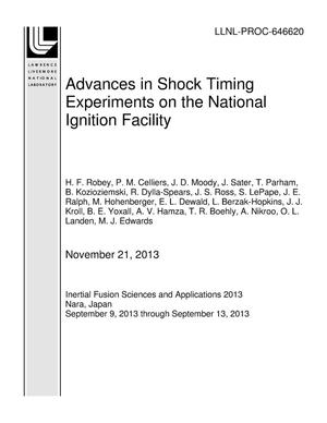 Primary view of object titled 'Advances in Shock Timing Experiments on the National Ignition Facility'.