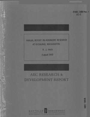 Primary view of object titled 'ANNUAL REPORT ON AERONOMY RESEARCH AT RICHLAND, WASHINGTON.'.