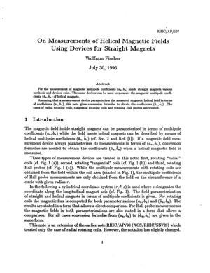 Primary view of object titled 'On Measurements of Helical Magnetic Fields Using Devices for Straight Magnets'.
