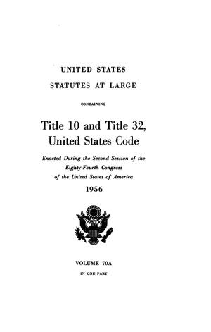 Primary view of object titled 'United States Statutes At Large, Volume 70A, 1956'.