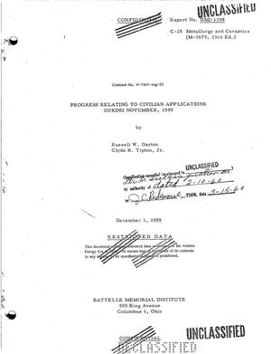 Primary view of object titled 'PROGRESS RELATING TO CIVILIAN APPLICATIONS DURING NOVEMBER 1959'.