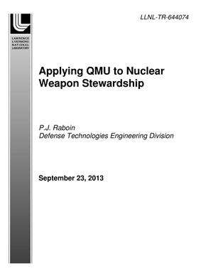 Primary view of object titled 'Applying QMU to Nuclear Weapon Stewardship'.