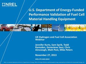 Primary view of object titled 'U.S. Department of Energy-Funded Performance Validation of Fuel Cell Material Handling Equipment (Presentation)'.