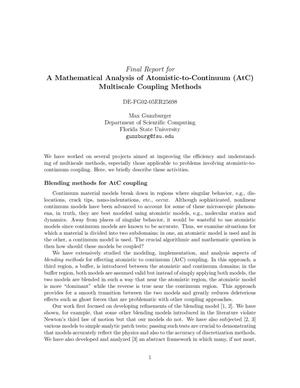 Primary view of object titled 'A Mathematical Analysis of Atomistic-to-Continuum (AtC) Multiscale Coupling Methods'.