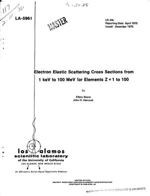 Primary view of object titled 'Electron elastic scattering cross sections from 1 keV to 100 MeV for elements Z = 1 to 100'.