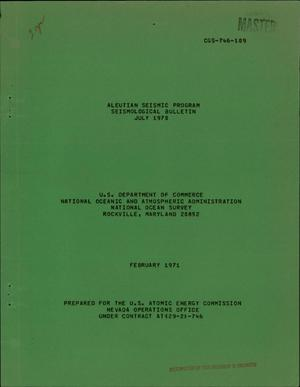 Primary view of object titled 'ALEUTIAN SEISMIC PROGRAM, SEISMOLOGICAL BULLETIN, JULY 1970.'.