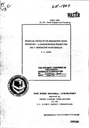 Primary view of object titled 'TECHNICAL STATUS OF THE RADIOACTIVE WASTE REPOSITORY: A DEMONSTRATION PROJECT FOR SOLID RADIOACTIVE WASTE DISPOSAL.'.