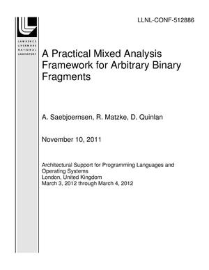 Primary view of object titled 'A Practical Mixed Analysis Framework for Arbitrary Binary Fragments'.
