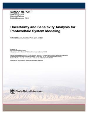 Primary view of object titled 'Uncertainty and sensitivity analysis for photovoltaic system modeling.'.