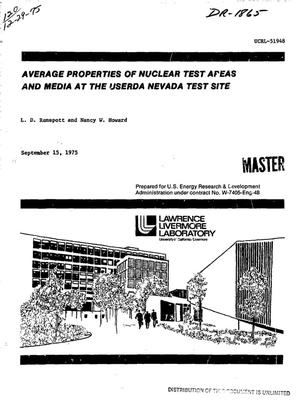 Primary view of object titled 'Average properties of nuclear test areas and media at the USERDA Nevada Test Site'.